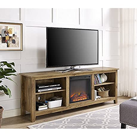New 70 Inch Wide Television Stand With Fireplace In Barnwood Finish