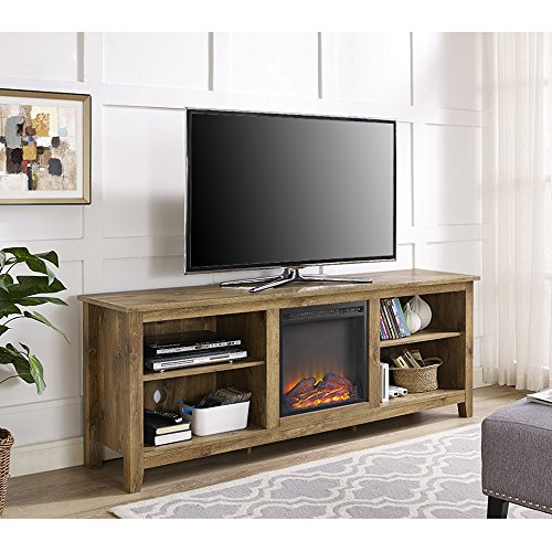 New 70 Inch Wide Television Stand with Fireplace in Barnwood Finish by Home Accent Furnishings