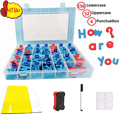 Alphabet Foam Storage - F.&.D Magnetic Letters Alphabet Magnets Kit with 208pcs Foam ABC Magnets, Storage Box and 2pcs Magnetic Whiteboard for Kids Spelling and Learning - Classroom & Home Education
