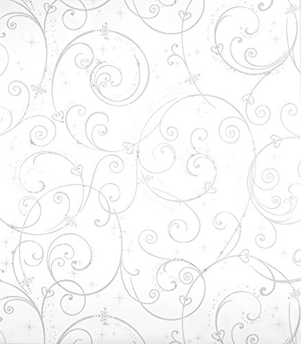York Wallcoverings Disney Kids DK5966 Perfect Princess Scroll Wallpaper, White with Glitter