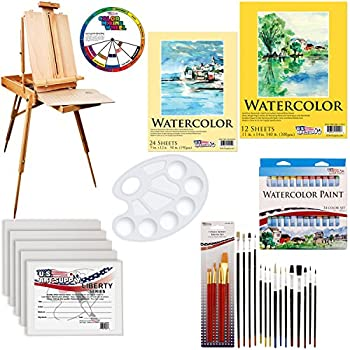 Image of Arts & Crafts Supplies U.S. Art Supply 57-Piece Watercolor Painting Kit with French Easel, Watercolor Paint, 11'x14' Canvas Panels, 11'x14' and 9'x12' Watercolor Paper, Nylon Paint Brushes, Multipurpose Paint Brushes
