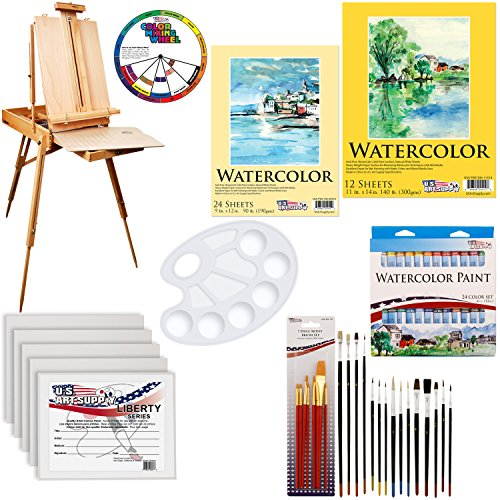 """U.S. Art Supply 57-Piece Watercolor Painting Kit with French Easel, Watercolor Paint, 11""""x14"""" Canvas Panels, 11""""x14"""" and 9""""x12"""" Watercolor Paper, Nylon Paint Brushes, Multipurpose Paint Brushes"""