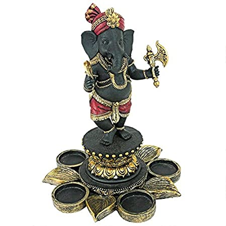 Red and Gold Design Toscano Standing Lord Ganesha on Lotus Flower Hindu Elephant God Statue Candle Holder 10 Inch Black