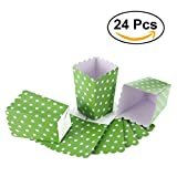 popcorn bags green - NUOLUX 24pcs Popcorn Boxes Dot Design Snack Paper Bags for Movie Theater Dessert Tables Wedding Favors (Green)
