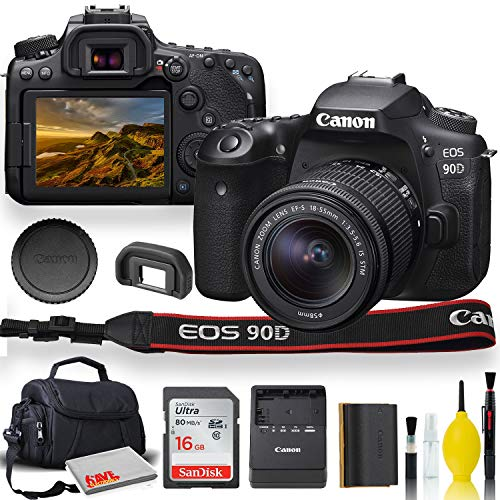 Canon EOS 90D DSLR Camera with 18-55mm Lens, Padded Case, Memory Card, and More – Starter Bundle Set (International…