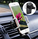 Image of Car Phone Holder, ilikable Universal Air Vent Car Phone Mount Cradle with 360 Degree Rotation for iPhone 8 7 6 SE 5C 5S Android Samsung Galaxy LG HTC Smartphone GPS and More (Black)
