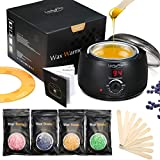Wax Warmer Hair Removal Kit, Wax Pot Professional Electric Pot Heater Melts Hot Beads in Minutes, Painless Rapid Waxing of Face, Body, Bikini Area, with 4 Wax Beans 10 Applicator Sticks for Women Men