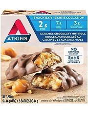Atkins Snack Bars - Caramel Chocolaty Nut Roll, 2g Sugar, Keto-Friendly, High Fibre 5 count
