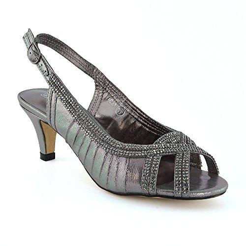 ESSEX Scarpa Gattino Donna Diamante Peltro Bagliore del GLAM Sándalo Nuziale Heel B6Br4zq