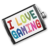 8oz Flask Stitched I Love Gaming, Colorful Stainless Steel - Neonblond