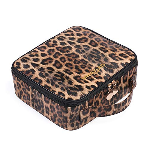 OXYTRA Makeup Bag Leopard Print PU Leather Travel Cosmetic Bag for Women Girls - Cute Large Makeup Case Cosmetic Train Case Organizer with Adjustable Dividers for Cosmetics Make Up Tools