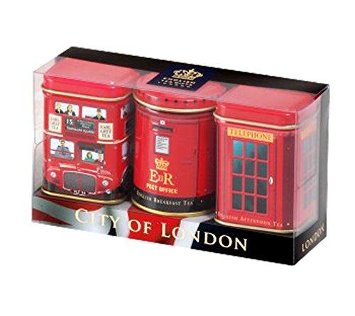 English Tea Mini Caddy Gift Set, City of London – 3 x 25g Tea Caddies Gift Pack