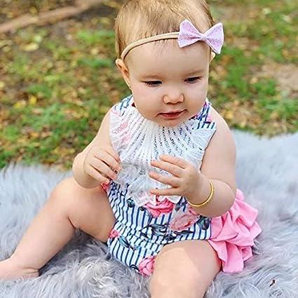 Listogether Summer Newborn Kids Baby Girls Cute Stripe Tassels Romper Bodysuit Jumpsuit Clothes Outfits Grey