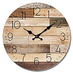 HDC International Wall Clock Natural Color Wood Planks Look 13 Round