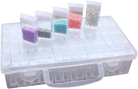 Bweele Caja de Almacenamiento de plástico de 64 Compartimentos, Caja de clasificación de Caja de Cuentas para uñas, Diamantes de imitación, Cuentas, Manualidades de Bricolaje: Amazon.es: Hogar