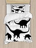 Ambesonne Dinosaur Duvet Cover Set Twin Size, Various Black Dino Silhouettes Jurassic Evolution Extinction Predator Animals, Decorative 2 Piece Bedding Set with 1 Pillow Sham, Black White