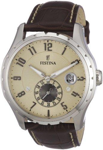 Festina Men's Retro F16486/2 Brown Leather Quartz Watch with Gold Dial