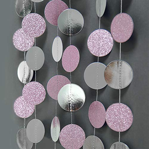 Glitter Pink and Silver Circle Dot Garlands Twinkle Little Star Garlands Polka Dots Streamer/Backdrop/Bunting for Girls Birthday Party Decoration/Hanging Decor/Baby Shower/Wedding/Room Decorations