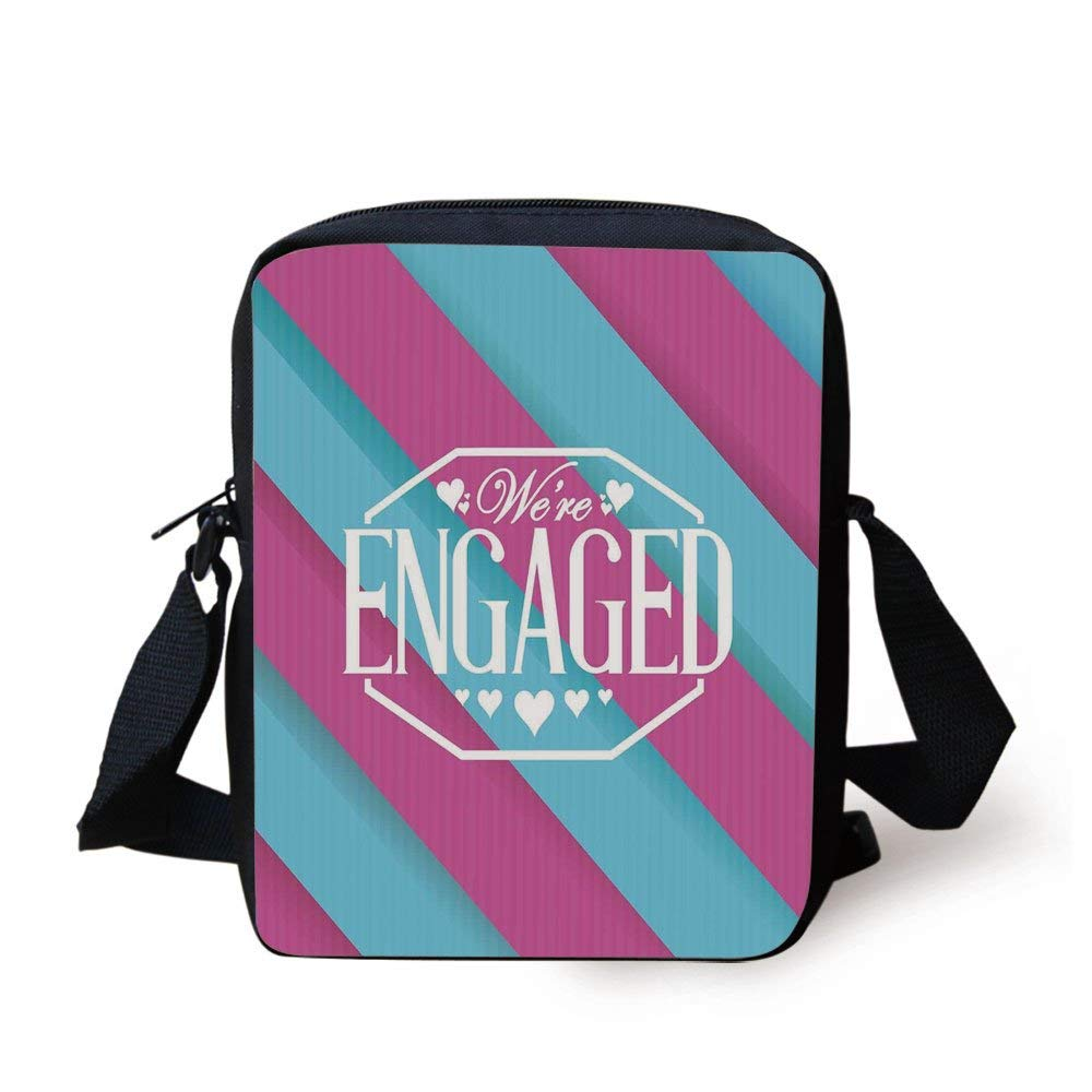 793d6da21 Engagement Party Decorations,We Are Engaged Quote with Bold Striped  Backdrop Image,Blue and Purple Print Kids Crossbody Messenger Bag Purse  Umhängetaschen