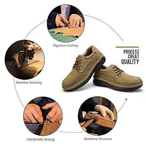 Zapatos Mano Leather Hechos para Otoño Libre De Casuales CAMEL a Invierno Bronce Trabajo con Caminar CROWN Al Viajes Scrub Aire Cordones Zapatos Hombres Zapatos qv7xwOx8
