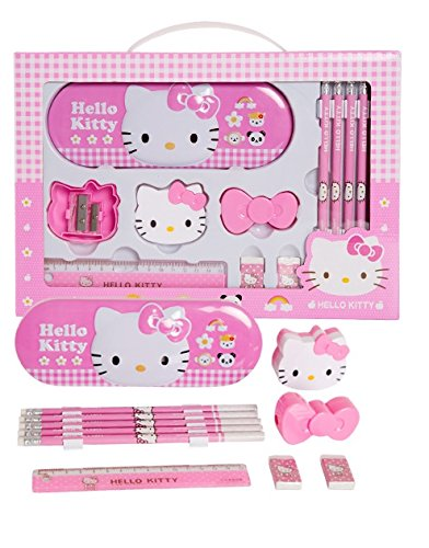 Hello Kitty School Stationery Gift Set; Includes Metal Case Box, 5 Pencils, 2 Sharpeners, 2 Erasers, 1 Ruler Plus Bonus DIY Project