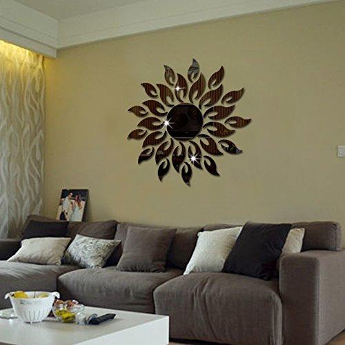 de haute qualit/é 3d sticker mural miroir en forme de fleur soleil acrylique pour salon argent d/écoration maison