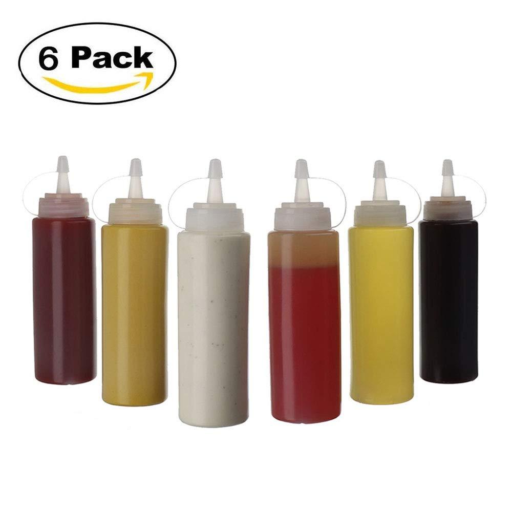 lhuile dolive sans BPA Bouteille /à Sauce Plastique Utilis/é pour la Moutarde la Sauce Barbecue 8 oz Squeeze Bouteille /à Condiments XUNKE 6 pcs Bouteille /à Sauce la Mayonnaise