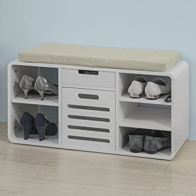 SoBuy 100% natural bamboo shoe rack, with storage compartment ,Bench