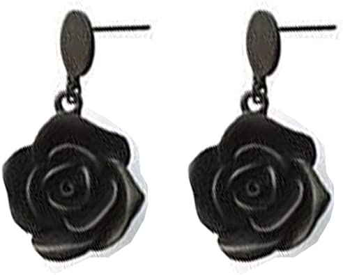 I D Jewelry Gold Plated Rose Flower Earrings Black Flowers Dangle Drop Earrings Bridesmaid Gift For Women Black Amazon Ca Jewelry