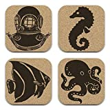 Nautical Deep Sea Diver Octopus Seahorse 4 PC Square Cork Coaster Set
