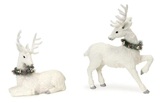 Christmas Tablescape Decor - A beautiful pair of glistening winter white glitter deer figurines