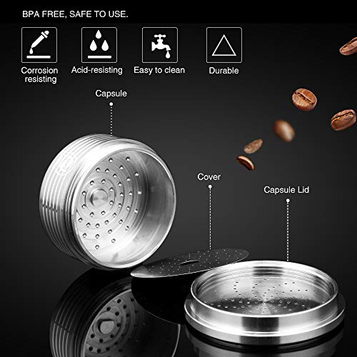 MG Coffee Stainless Steel Reusable Capsules Metal Permanent Coffee Pods Holder Compatible for Lavazza Espresso Capsules Coffee Machine Make Crema,with Tamper by MG Coffee (Image #2)