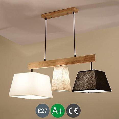 Lámpara colgante de madera LED Lámpara de mesa de comedor ...