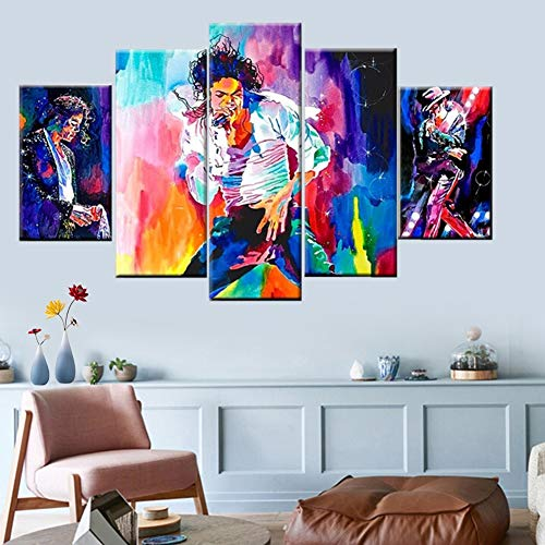(FJNS HD Print 5 Panels Abstract Painting Forever Pop King Michael Jackson Picture Poster Modern Home Canvas Living Room Wall Art Deco Painting,B,20x30x220x40x220x50x1)