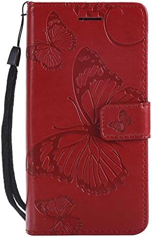 OMATENTI Sony Xperia XZ2 Compact 手帳型 ケース, 良質 高級感PUレザー カード収納ホルダー付きストラップ付き 落下防止 全面保護 衝撃吸収 保護カバー エンボス蝶柄, 赤
