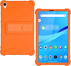 HminSen Case for Lenovo Tab M8 FHD TB-8705F TB-8705N Kids Friendly Soft Silicone Adjustable Stand Cover for Lenovo Tab M8 TB-8505F TB-8505X TB-8505I Tablet Cases (Orange)