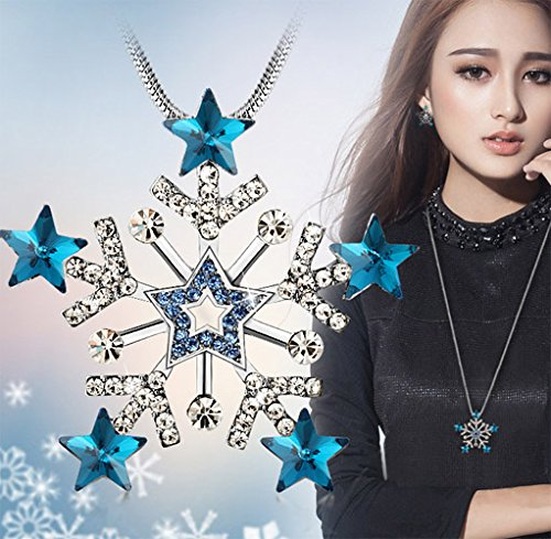 Female Charm Accessories Peacock Blue Stars Snow Crystal Pendant Chain Long Sweater Necklace