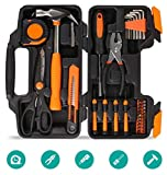 FIXKIT 39 PCS Home Household Tool Kit Set for DIY and Repair with Combination Pliers in Plastic Toolbox Storage Case …