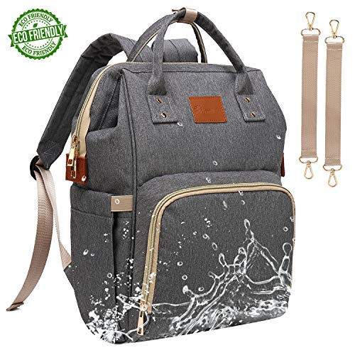 Baby Diaper Bag Backpack – Large Diaper Backpack for Mom Dad with Stroller Straps, Multi-Function, Waterproof, Stylish and Durable Travel Diaper Bags for Girls and Boys (Gray)