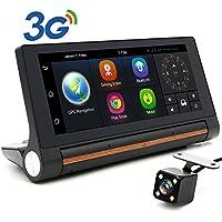 junsun Camera GPS Navigation and Dash Camera 7-inch Android 3G Bluetooth Front and Back Camera, G-Sensor, Loop Recording, 140 Degrees