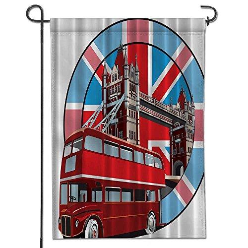 "AmaPark Diploma Polyester Garden Flag Symbol of London Decor Thames River Bridge Memorabilia English Red Bus Drawing View for Outdoor Home Garden Flower Pot Decor-12"" x 18"""