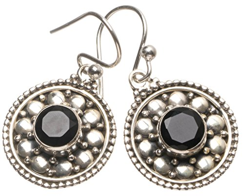 Natural Black Onyx Handmade Mexican 925 Sterling Silver Earrings 1