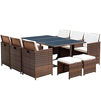 Flamaker Outdoor Dining Set Cushioned PE Rattan Wicker Chair 11 PCS Patio Furniture Space Saving Furniture with Ottoman(Brown /11) - 【Sturdy & Durable】Durable steel frame connected by anti-loosing bolts,covered by high quality hand woven all weather PE wicker, ensure a long-term usage. 【Space Saving Design】Put the ottoman under the chair then fold the seat back and put the cushion on the back,you can easily store them under the table to save space. 【Elegant & Practical】The hole on the back and three pieces of detachable glass make the furniture easy to move and rearrange.Comfortable zippered cushions for easy cleaning. - patio-furniture, dining-sets-patio-funiture, patio - 51SS9ULvyeL. SS400  -