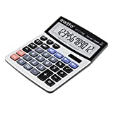 EWTTO Super Size 12-Digit Dual Powered Standard Function Desktop Solar Calculator