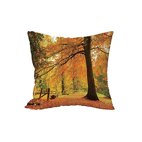 Polyester Throw Pillow Cushion,Farm House Decor,Autumn Fall Forest Scene with Vibrant Colors and Pale Leaves Tranquil Peace Nature,Orange Brown,17.7x17.7Inches,for Sofa Bedroom Car Decorate