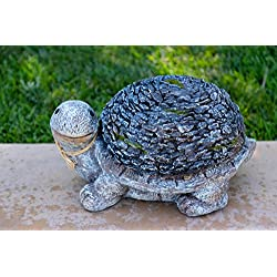 Alpine Turtle with a Stone Shell Garden Statue, 9 Inch Tall