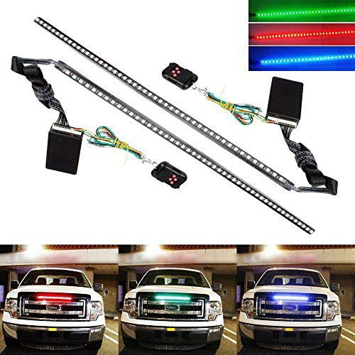 2017 Chrysler Sebring Grille - iJDMTOY (2) 20 inches 48-LED RGB 7-Color LED Knight Rider Scanner Lighting Bars For Car Truck SUV Interior or Exterior Decoration