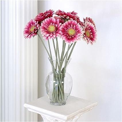 Amazon gerbera daisy silk flower stems fuchsia set of 6 home gerbera daisy silk flower stems fuchsia set of 6 mightylinksfo