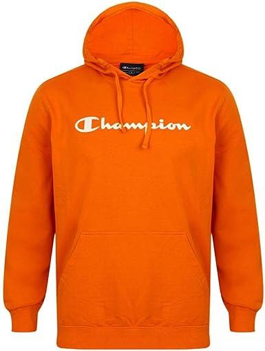 Champion Sweat à Capuche pour Homme avec Grand Logo Orange
