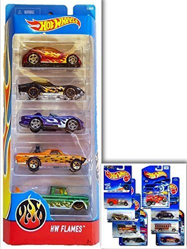 Hot Wheels HW Flames Showdown Bundle: 5 Pack- '68 El Camino, '69 COPO Corvette, Dodge Viper RT/10, Chysler Pronto, Custom 62 Chevy (Colors May Vary) & 1 Hotwheels ShowdownDie Cast (Abc Family 13 Nights Halloween)